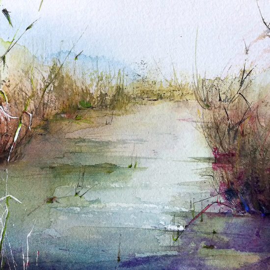 Seaside painting - un canal de s'Albufera 18 x 12,5cm, Watercolor, chinese ink.