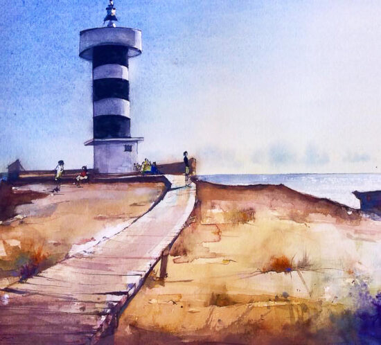 Colonia Sant Jordi's lighthouse. 23 x 31cm. Watercolor, chinese ink.